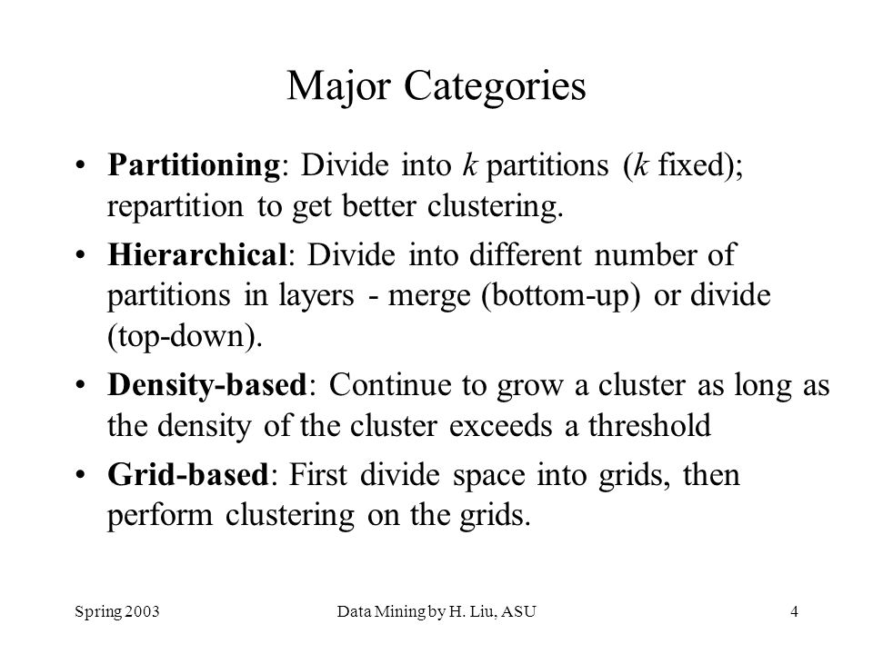 Major Categories Partitioning: Divide into k partitions (k fixed); repartition to get better clustering.