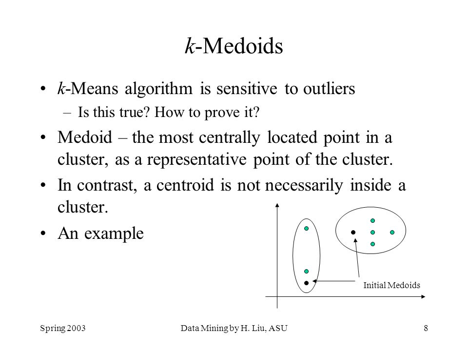 k-Medoids k-Means algorithm is sensitive to outliers