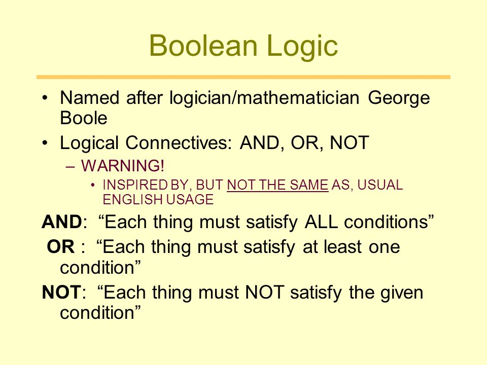 Boolean Logic Named after logician/mathematician George Boole