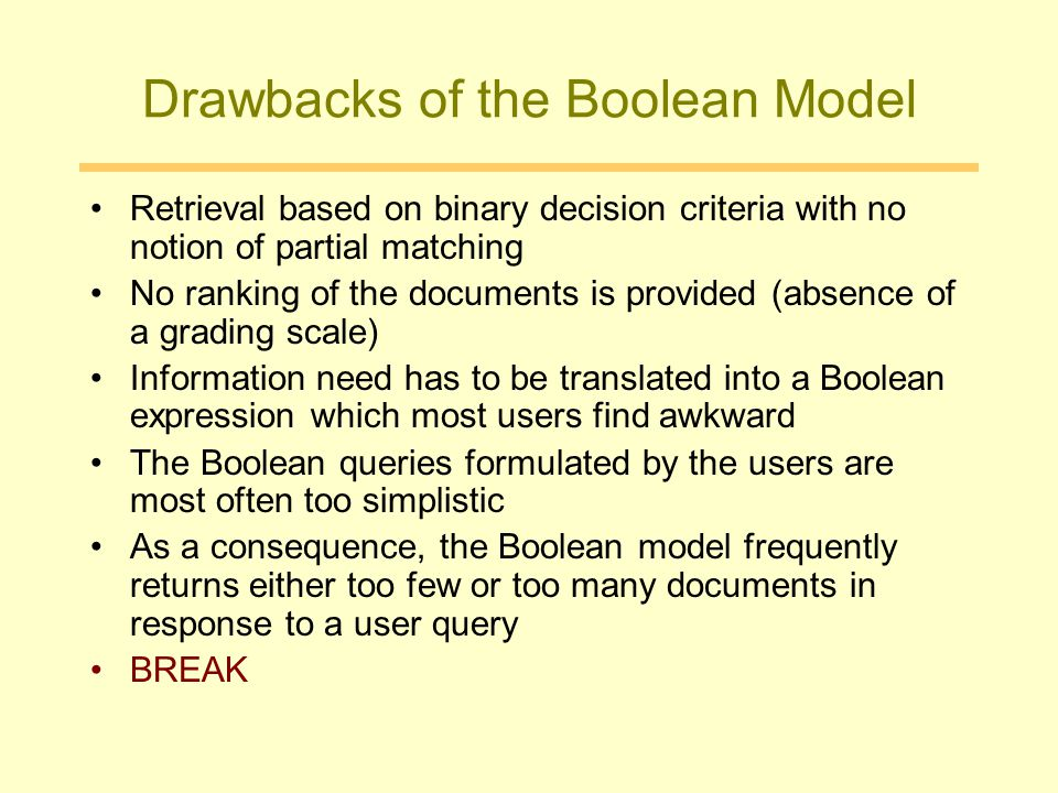 Drawbacks of the Boolean Model