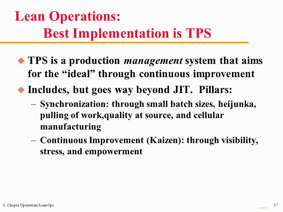 Lean Operations: Best Implementation is TPS