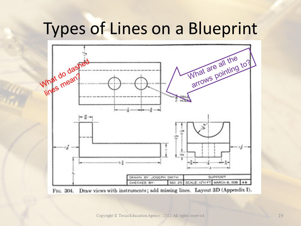 Copyright texas education agency all rights reserved ppt types of lines on a blueprint malvernweather Image collections