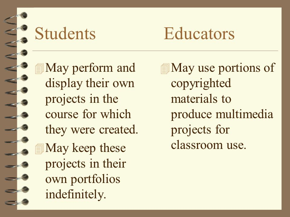 Students Educators May perform and display their own projects in the course for which they were created.