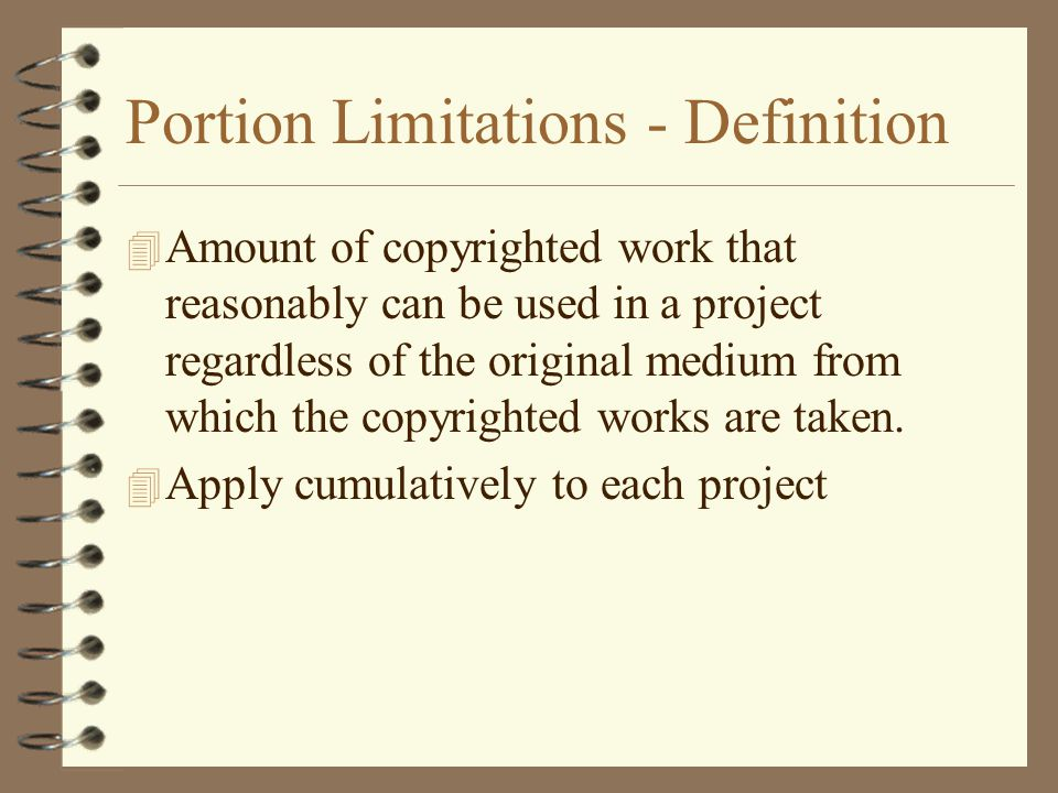Portion Limitations - Definition
