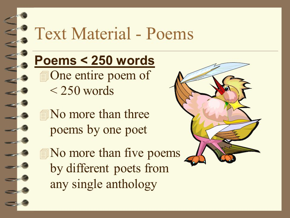 Text Material - Poems Poems < 250 words
