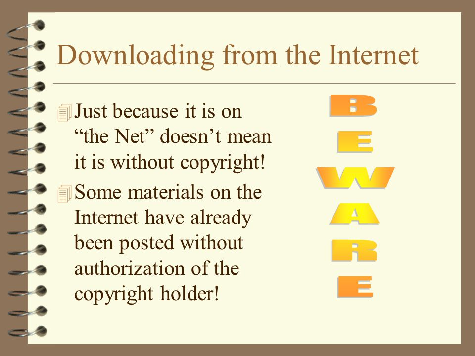 Downloading from the Internet