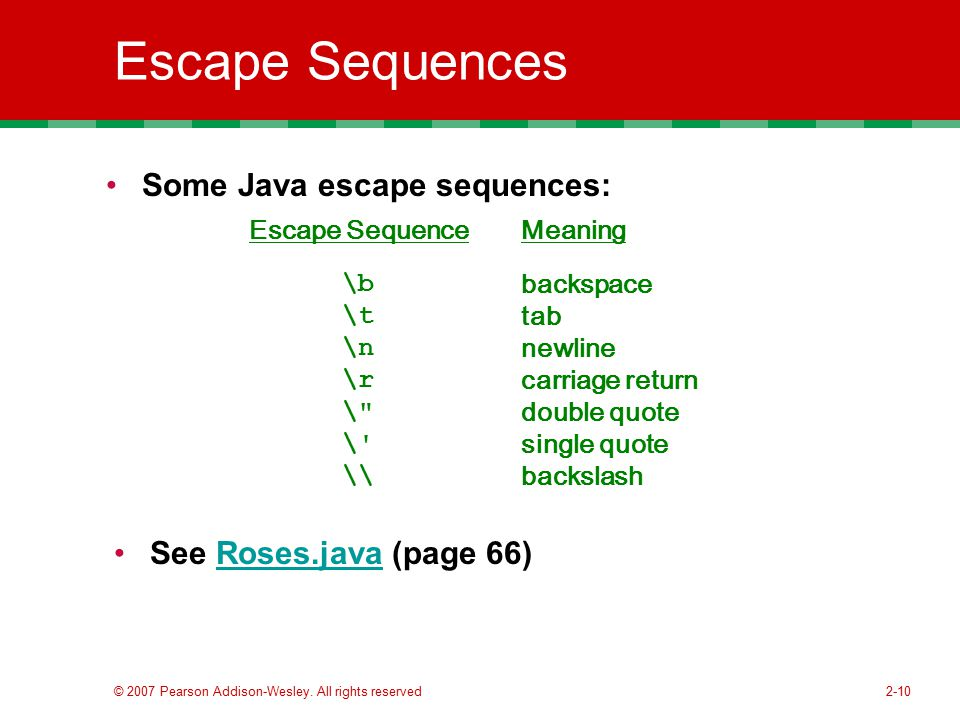 Escape Sequences Some Java escape sequences: See Roses.java (page 66)