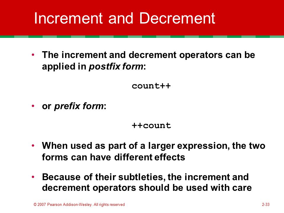Increment and Decrement