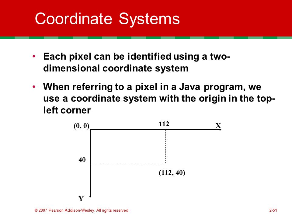 Coordinate Systems Each pixel can be identified using a two- dimensional coordinate system.