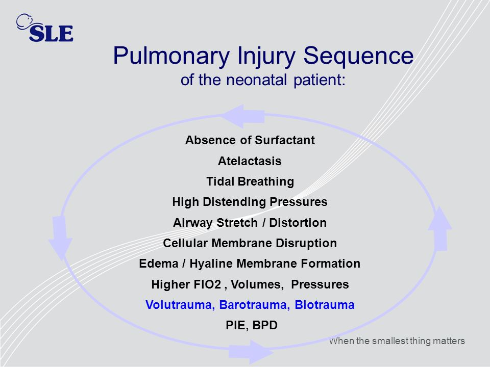 Pulmonary Injury Sequence of the neonatal patient: