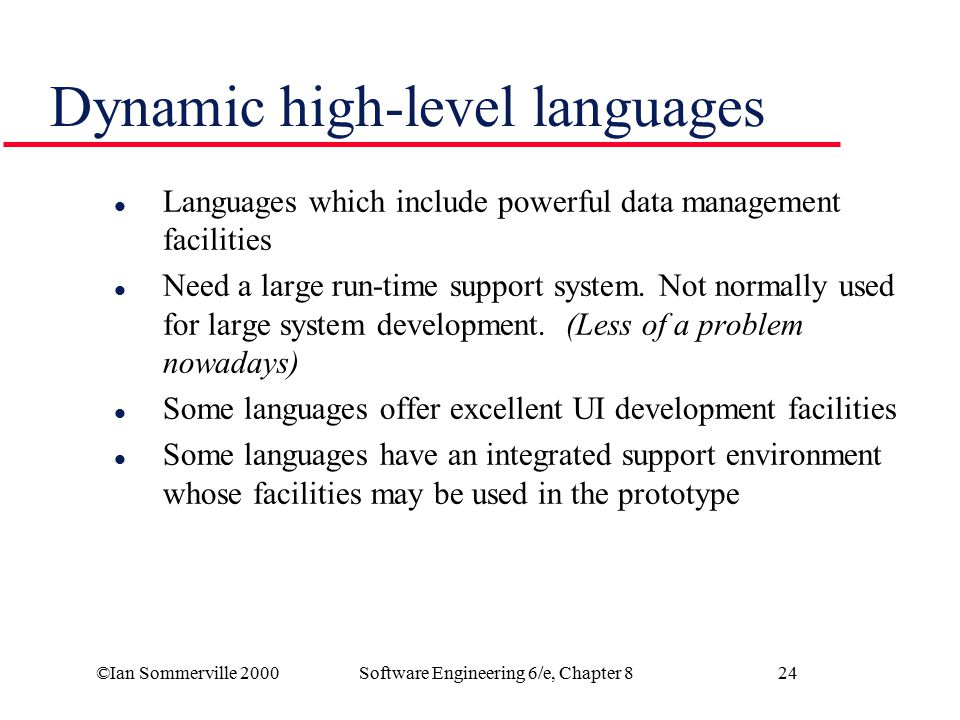 Dynamic high-level languages