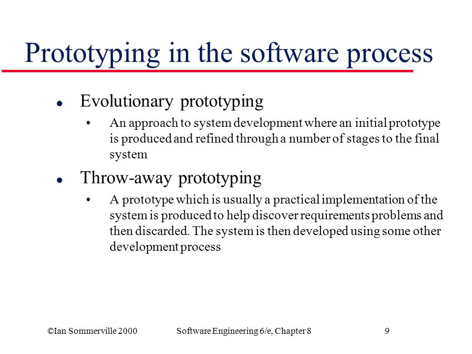 Prototyping in the software process