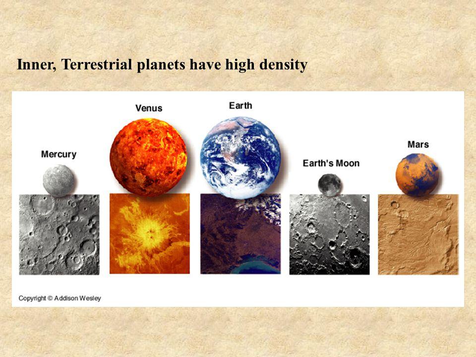 Inner, Terrestrial planets have high density