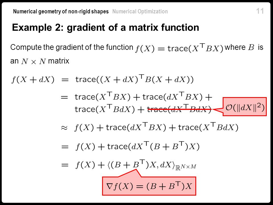 Example 2: gradient of a matrix function