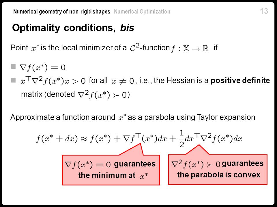 Optimality conditions, bis