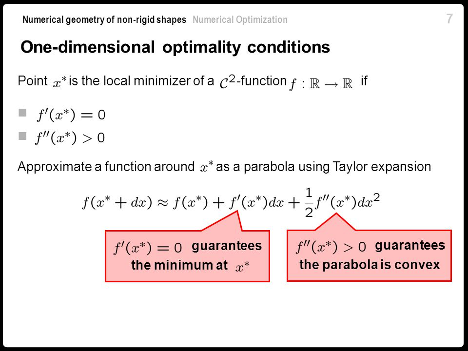 One-dimensional optimality conditions