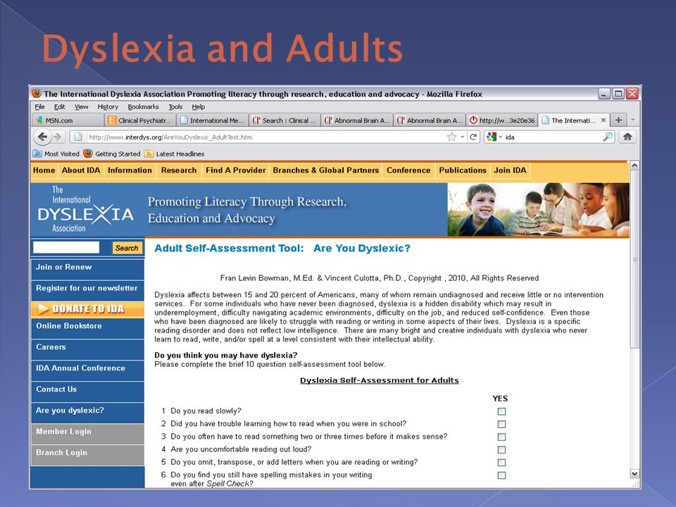 dyslexia test for adults