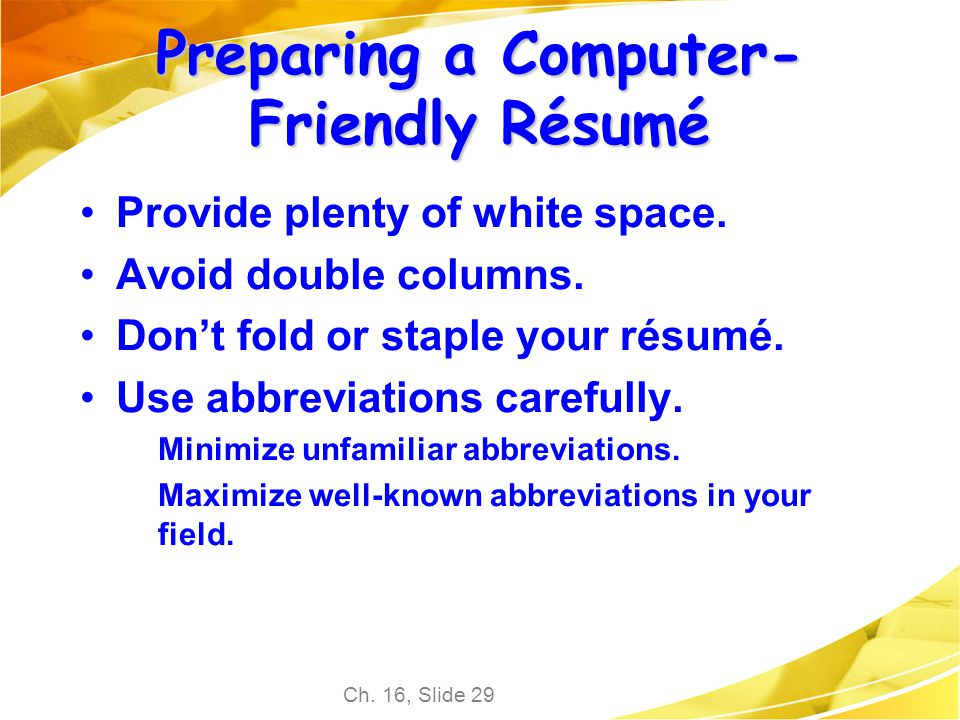 Beginning Teacher Resume Excel Chapter  Employment Communication  Ppt Download Resume Education Section Example with Create A Job Resume Word Preparing A Computerfriendly Rsum Letter Of Recommendation Resume Word