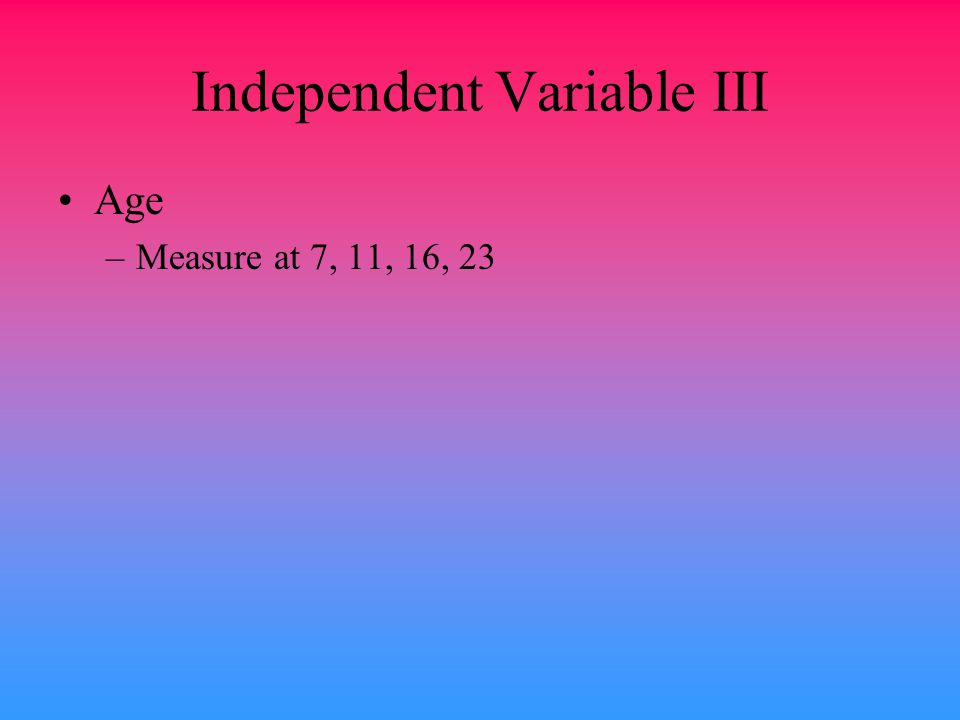 Independent Variable III