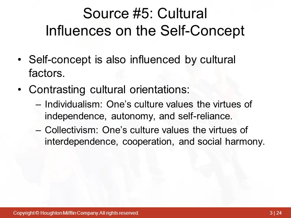 influences on self concepts and the impact Both of these parts of self-concept influence the ways in which an individual perceives themselves in relation to others in their peer group identifying the self can be challenging, as it is likely to be defined subjectively.
