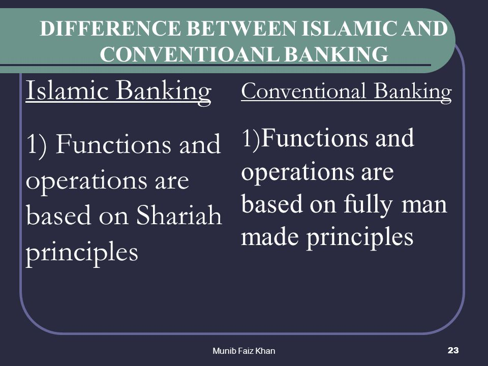 conventional banking principles Islamic banking is a banking system based on islamic shari'ah principles which are different from the principles followed by conventional banks i would like to write about the products offered by islamic banks, but before that, i will write about the differences between islamic banks and conventional banks.