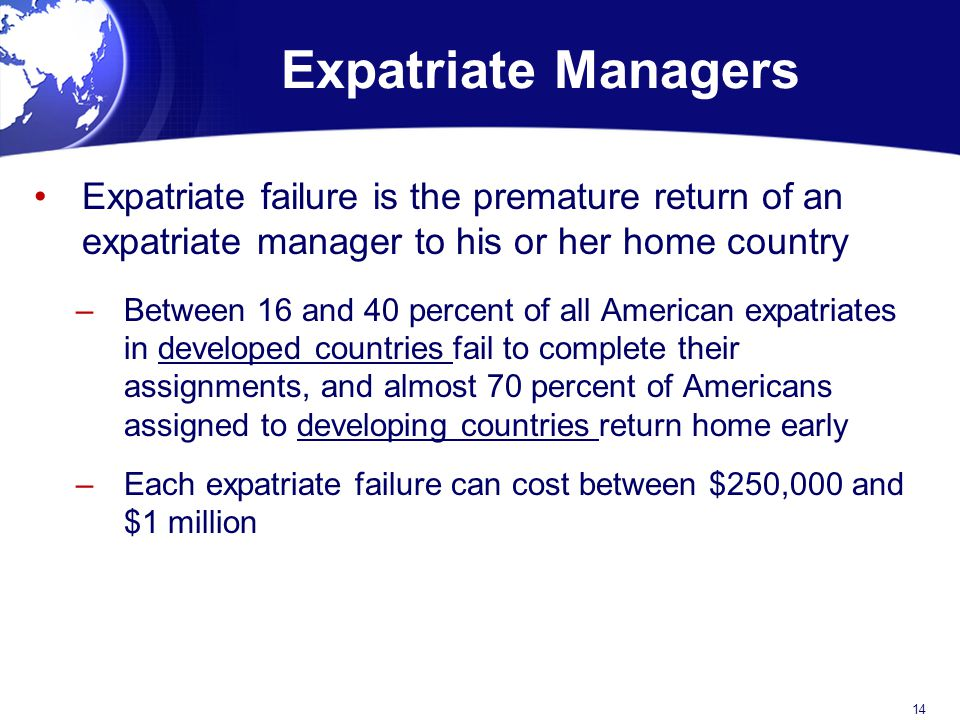 Reasons for Expatriate Failure