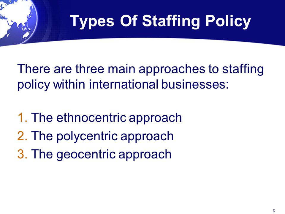 Staffing approaches for international operations