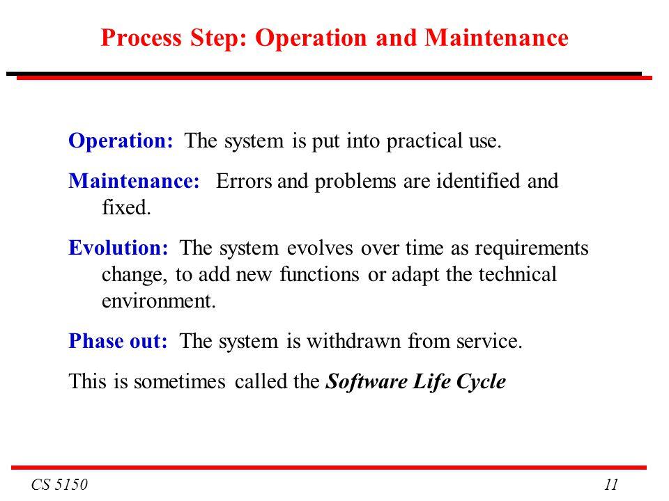 Process Step: Operation and Maintenance