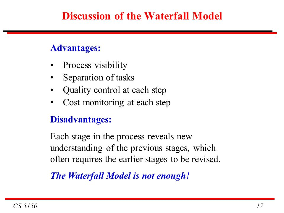 Discussion of the Waterfall Model