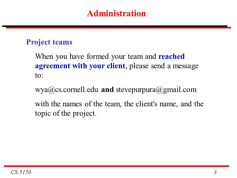 Administration Project teams