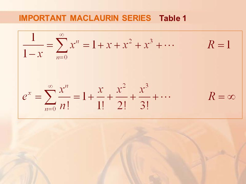 IMPORTANT MACLAURIN SERIES