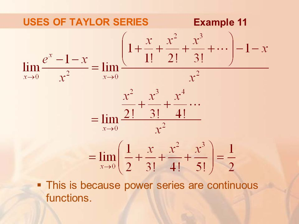 This is because power series are continuous functions.
