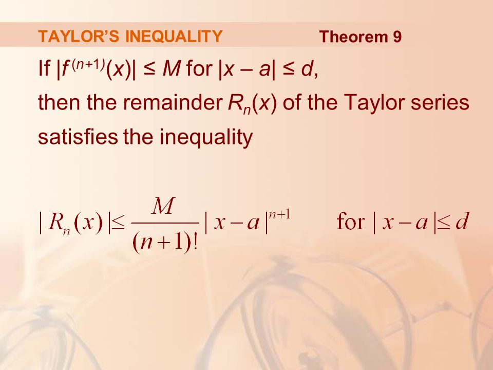 TAYLOR'S INEQUALITY Theorem 9.