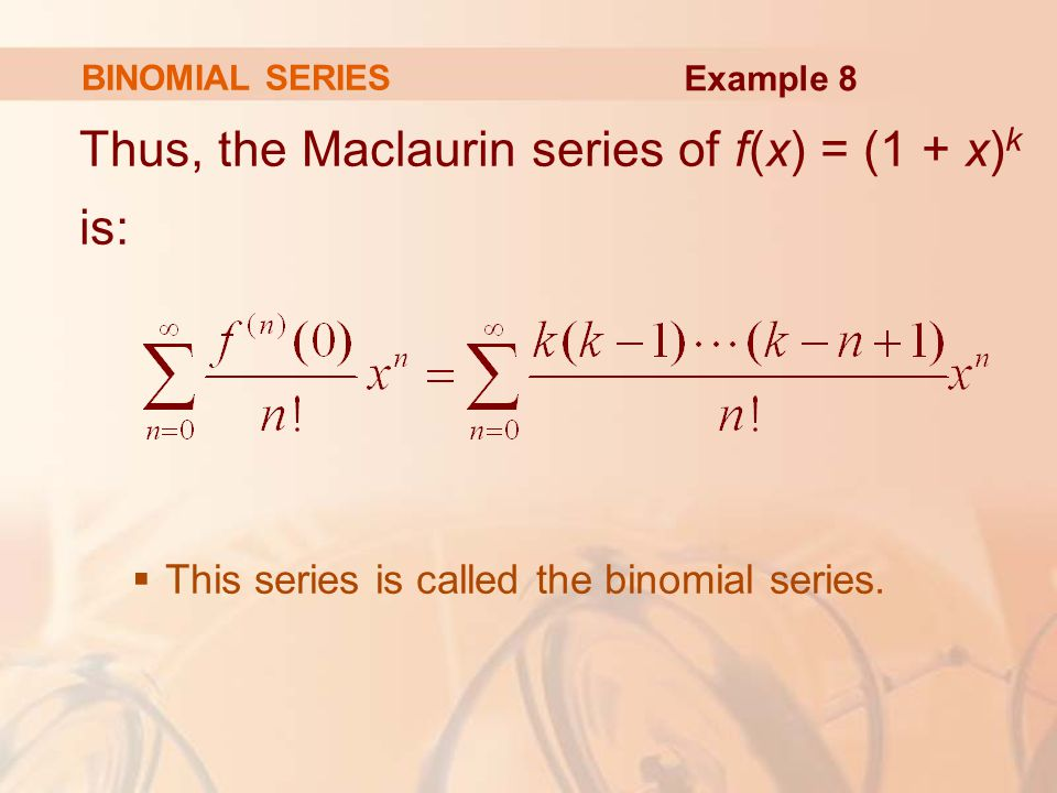 Thus, the Maclaurin series of f(x) = (1 + x)k is: