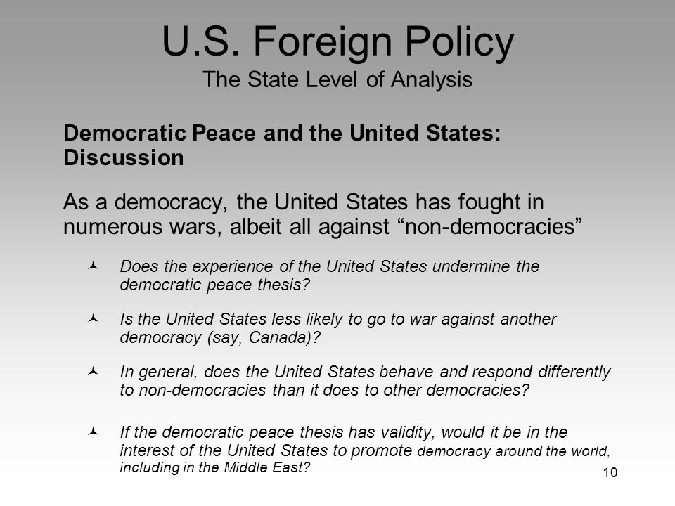 democratic peace thesis fukuyama Is parallelled by the focus on the liberal or democratic peace, the claim that  liberal  7 doyle has repeated his main theses about kant in various articles  following the  other authors include francis fukuyama, jack levy, and bruce  russett.
