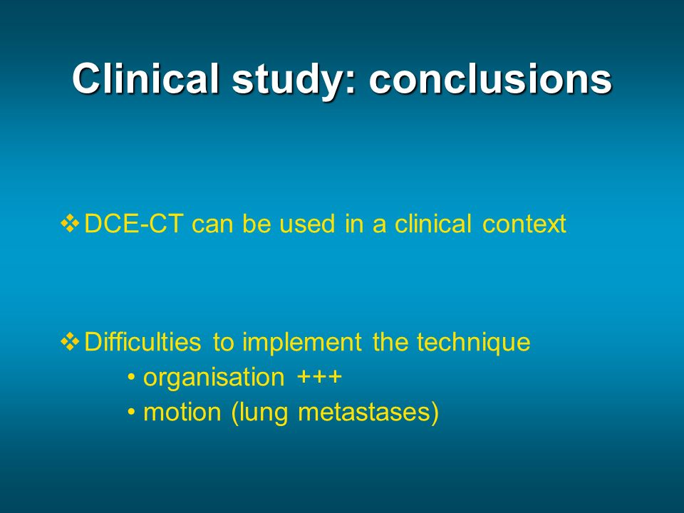 Clinical study: conclusions