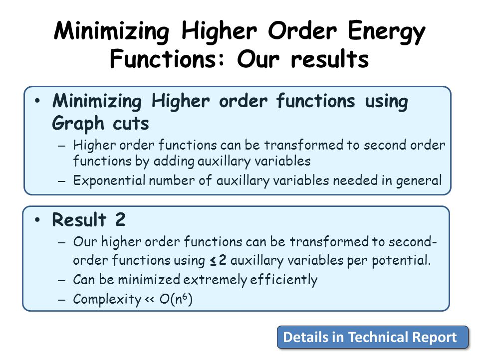 Minimizing Higher Order Energy Functions: Our results