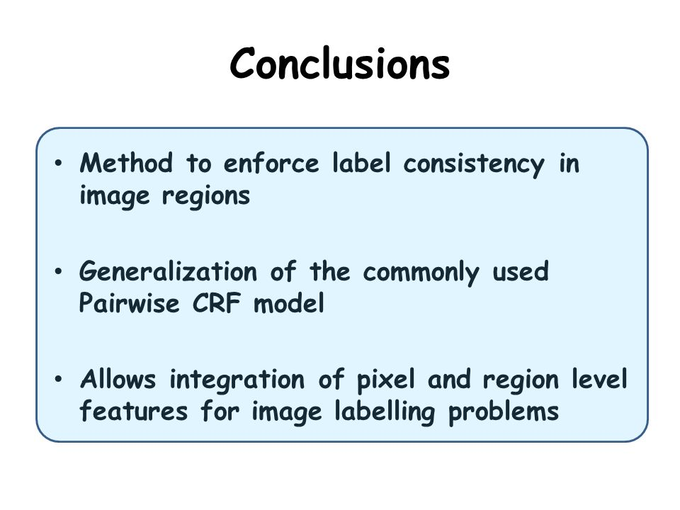 Conclusions Method to enforce label consistency in image regions