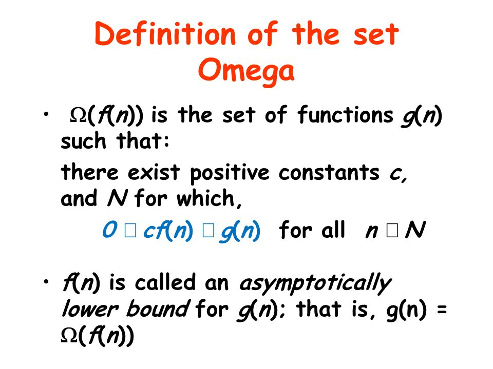 Definition of the set Omega