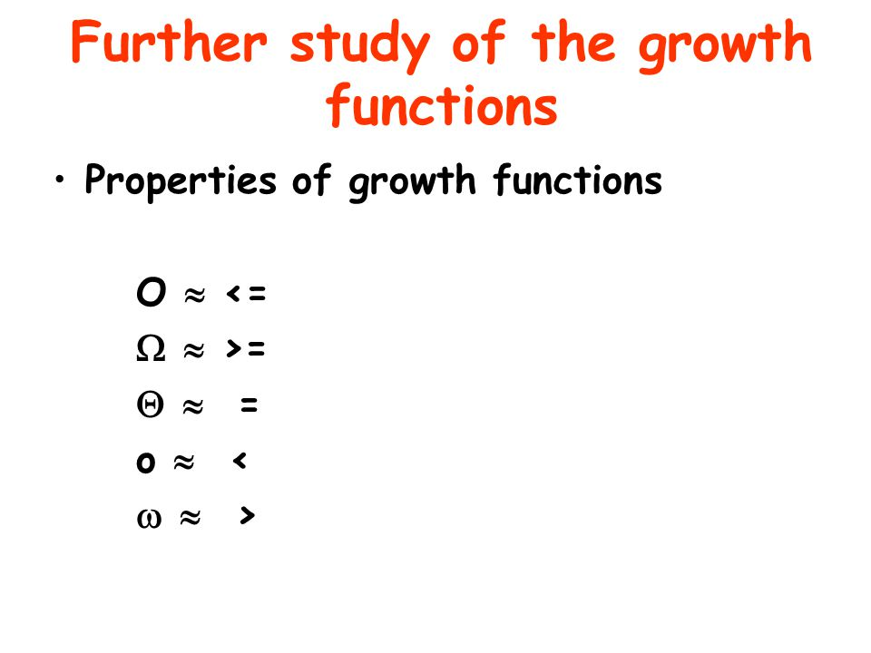 Further study of the growth functions