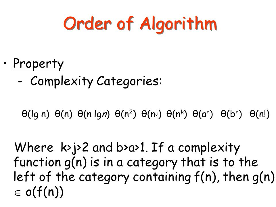 Order of Algorithm Property - Complexity Categories: