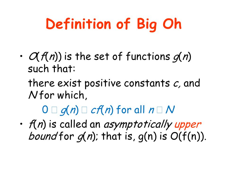 Definition of Big Oh O(f(n)) is the set of functions g(n) such that: