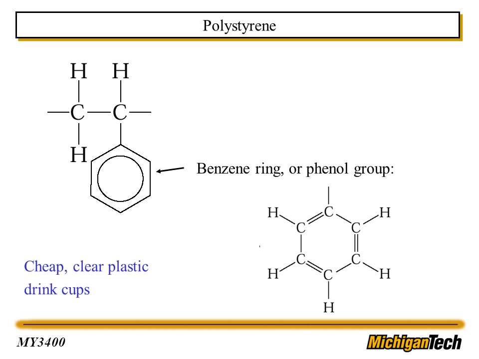 Polystyrene Benzene ring, or phenol group: Cheap, clear plastic drink cups