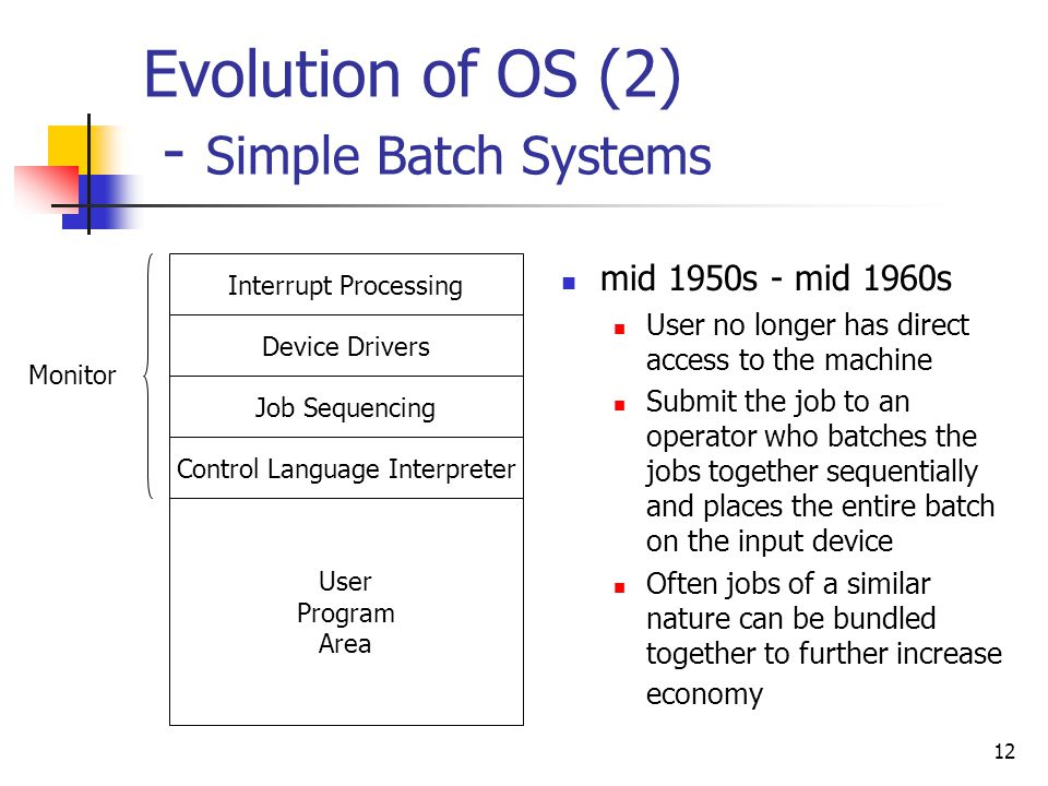 Evolution of OS (2) - Simple Batch Systems