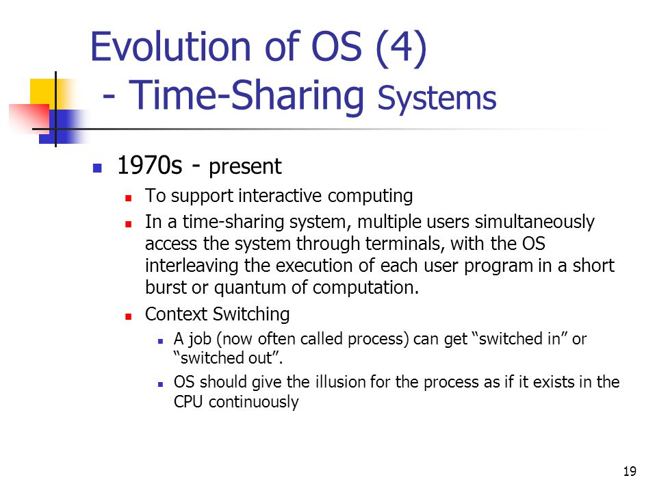 Evolution of OS (4) - Time-Sharing Systems