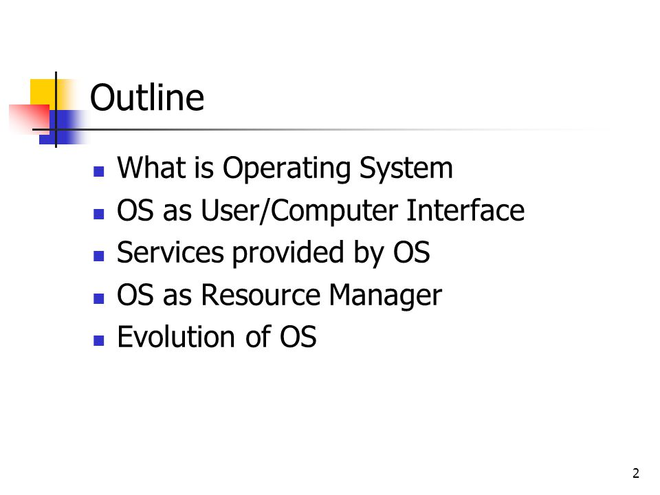 Outline What is Operating System OS as User/Computer Interface