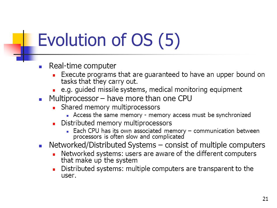 Evolution of OS (5) Real-time computer