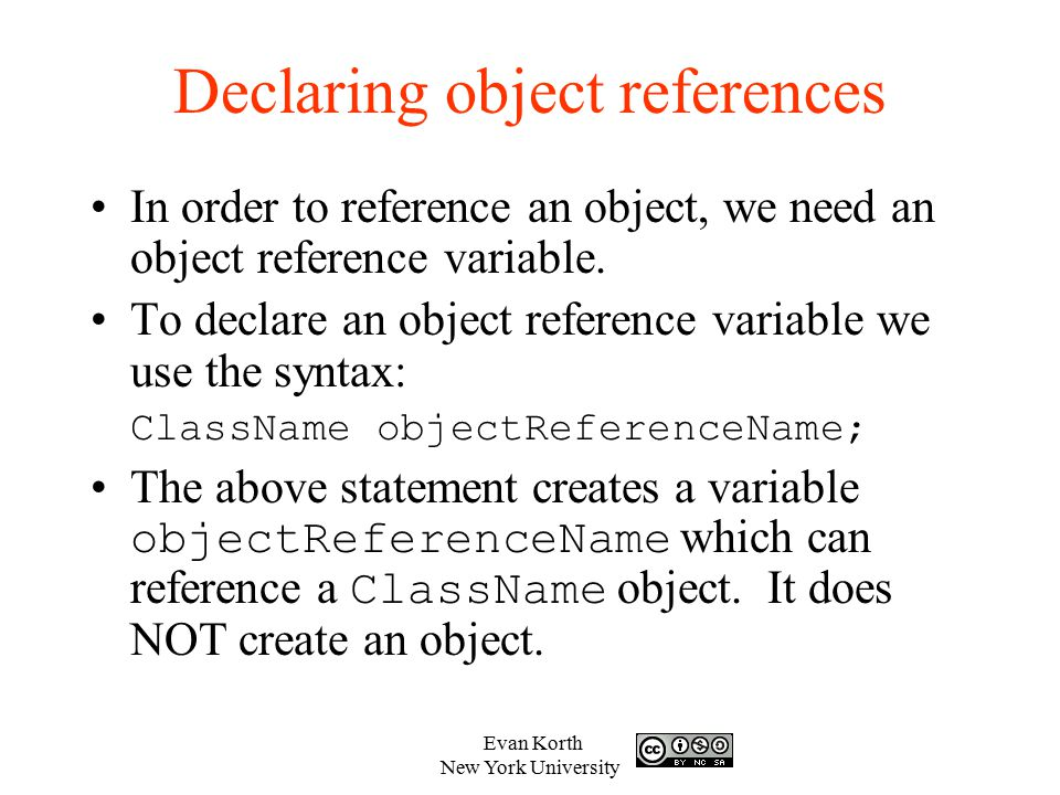Declaring object references
