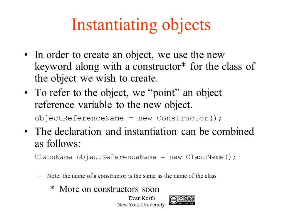 Instantiating objects