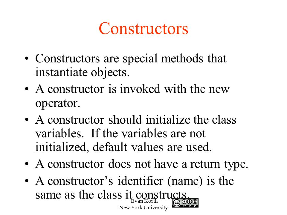 Constructors Constructors are special methods that instantiate objects. A constructor is invoked with the new operator.